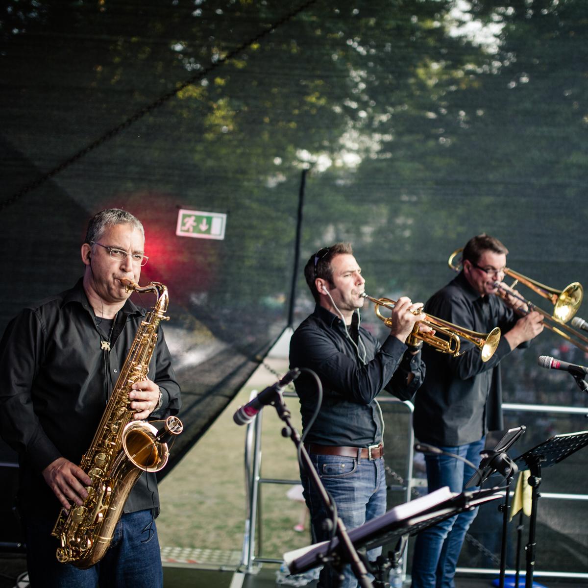 Saxophon, Posaune und Trompete